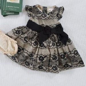 Janie & Jack Black Ruffle Baby Holiday Dress